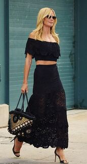 skirt,top,maxi skirt,all black everything,summer outfits,blouse,off the shoulder,sandals,heidi klum,bag,lace skirt