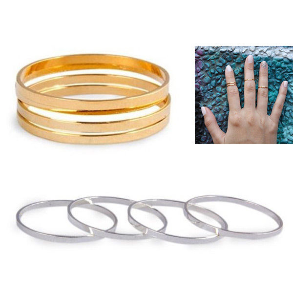 Hot Plain Cute 5PC/Set Bronze Ring Above Knuckle Mid Finger Little Finger