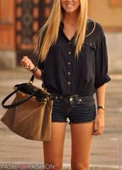 blouse,bag,shirt,shorts,black button down,cute ),loose,mini shorts,black,jeans,t-shirt,ou trouver ce sac,black blouse,dark colored jean shorts,black top,suede,brown,brown bag,navy