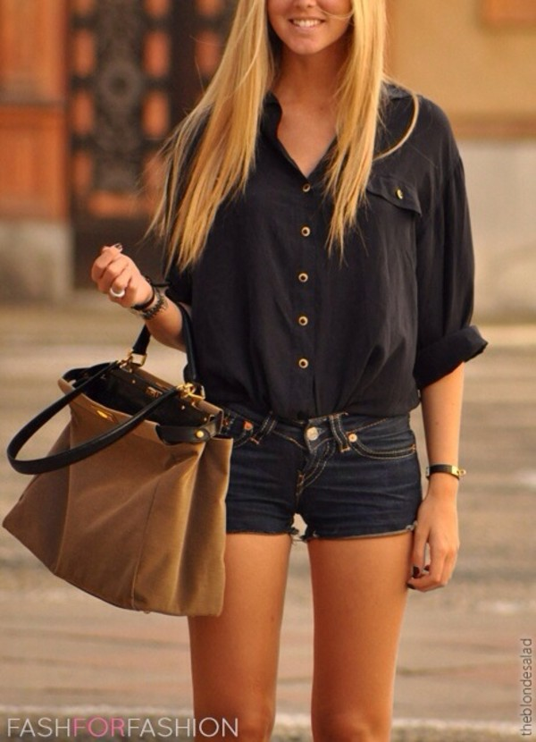 blouse bag shirt shorts jeans shorts skin black button down cute ) loose ou trouver ce sac black blouse dark colored jean shorts black top suede brown brown bag navy jeans
