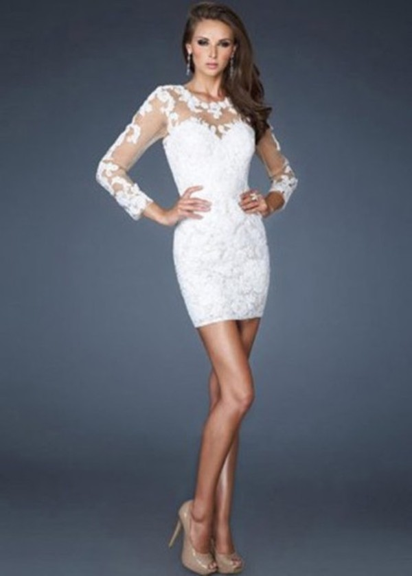 dress winter formal dress lace dress white dress ivory lace homecoming bride white lace dress long sleeve wedding dress sheer lace wedding dress sexy wedding dress short wedding dress lace wedding dress lace sleeves white gorgeous party dress