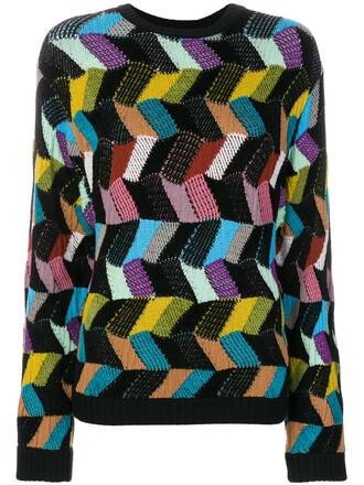 jumper women geometric black wool pattern sweater