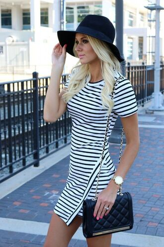 hat black white bag blonde hair vintige watch dress platinum hair