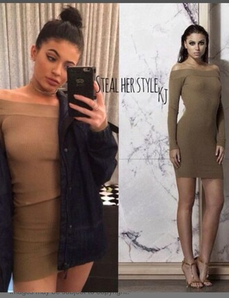dress bodycon dress off the shoulder dress kylie jenner khaki mini dress