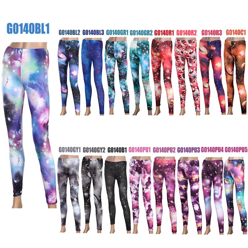 Galaxy Printed Leggings Women Skinny Stretch Pants Footless Tights ...