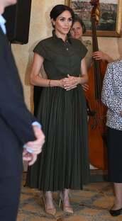 dress,olive green,midi dress,pleated,meghan markle,celebrity,shirt dress