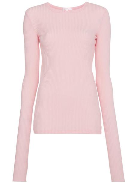 Helmut Lang t-shirt shirt t-shirt cut-out women cotton purple pink top