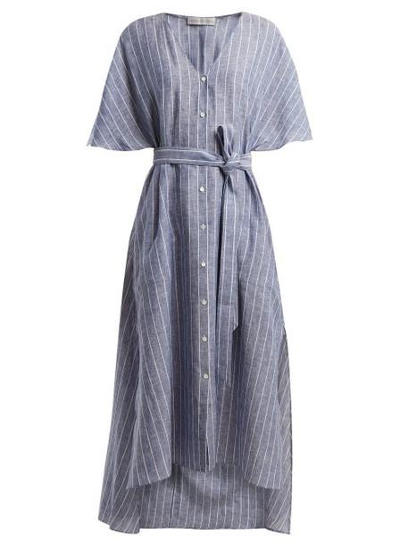 Palmer/harding Palmer//harding - Striped Tie Waist Linen Dress - Womens - Navy Stripe
