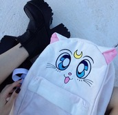 bag,sailor moon,cats,white bag,anime,anime bag,white,moon,salor moon,backpack,bookbag,black,platform shoes,platform heels,kawaii,cute,manga,stars,grunge,soft grunge,blue,ey,girl,girly,luna,tumbr,school bag,aesthetic,cat backpack,artemis