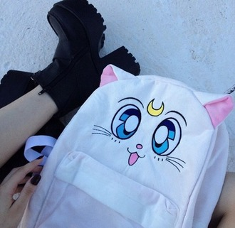 bag sailor moon cats white bag anime anime bag white moon salor moon backpack bookbag black platform shoes platform heels kawaii cute manga stars grunge soft grunge blue ey girl girly luna tumbr school bag aesthetic cat backpack artemis