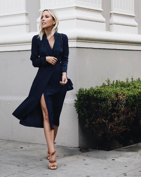 847c3a6588d3 dress tumblr bag midi dress navy navy dress slit dress wrap dress long  sleeves long sleeve