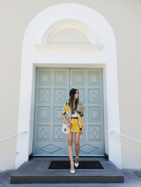 fashion coolture blogger print yellow mini skirt