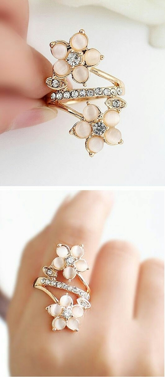 jewels ring gold pink style cute rose rhinestones pretty girly