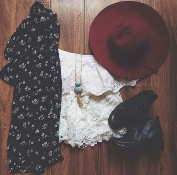 shorts cardigan hat top
