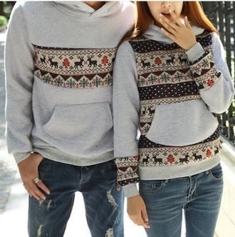 sweater grey grey sweater deer hoodie christmas sweater winter sweater matching couples