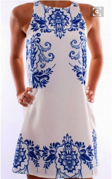 dress blue and white summer dress mini dress
