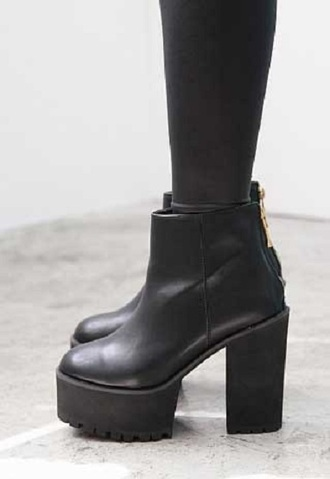 shoes boots grunge punk 90's chunky boots platform shoes black boots chunky black boots
