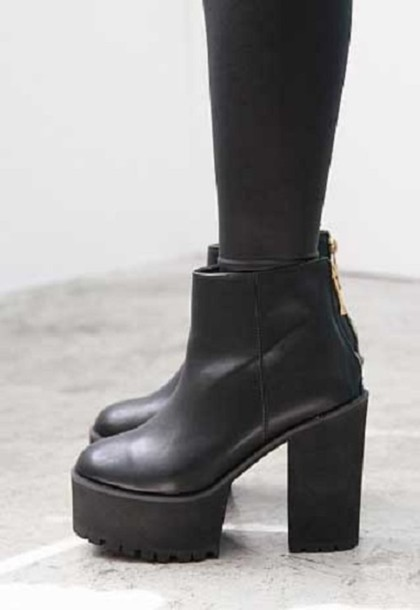 shoes boots grunge punk 90s style chunky boots platform shoes black boots chunky black boots