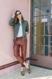 louise roe,blogger,pants,jacket,t-shirt,sunglasses,green jacket,loafers,leather pants,spring outfits