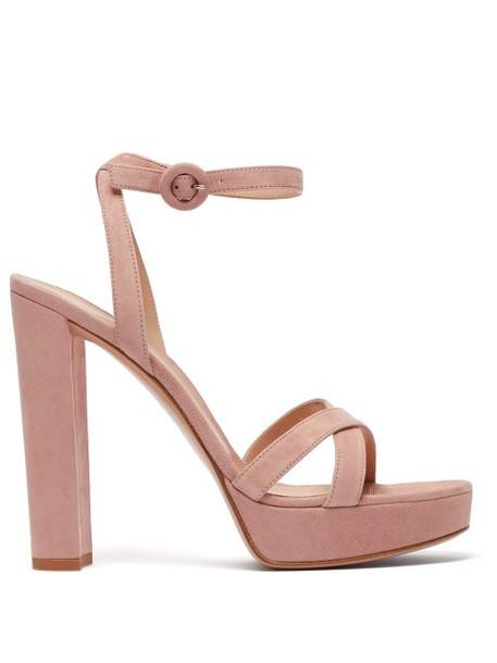 Gianvito Rossi - Poppy 100 Suede Platform Sandals - Womens - Nude