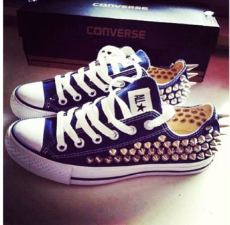 shoes blue studded converse all star spike studs gold trainers white lace studded converses royal blue allstar navy spikes sneakers flats casual laces blue adidas short set