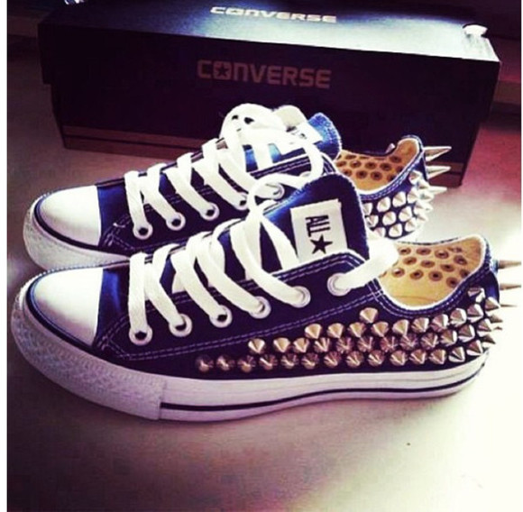 shoes spike studded blue converse all star gold converses studs trainers whitelaces studded converses all stars converse chuck taylor royal blue