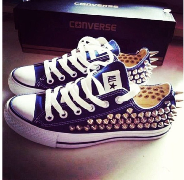 shoes blue studded converse all star spike converse studs gold trainers white lace studded converses converse converse royal blue allstar navy spikes sneakers flats casual laces blue adidas short set