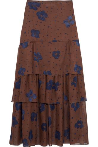 skirt maxi skirt maxi silk navy brown