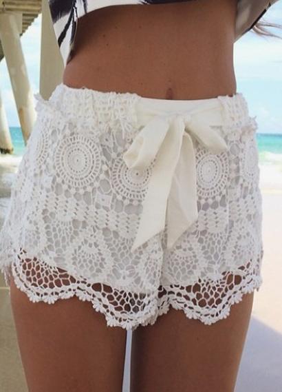 Bow Hollow Lace Shorts -SheIn(Sheinside)