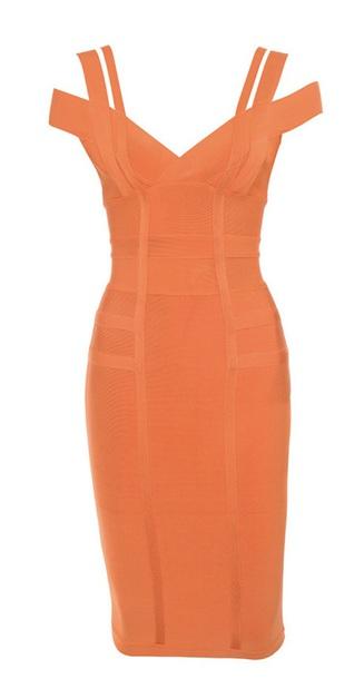 dress bandage dress orange