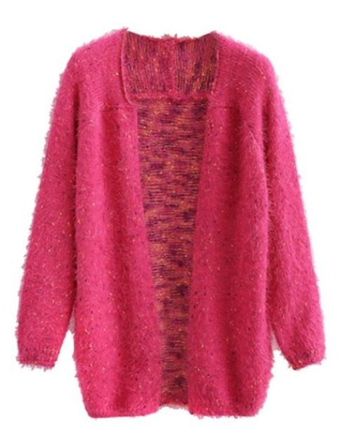 Rose Fluffy Open Front Cardigan With Colorful Polka Dots
