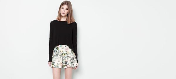 skirt floral print neoprene skirt floral mini skirt neoprene green