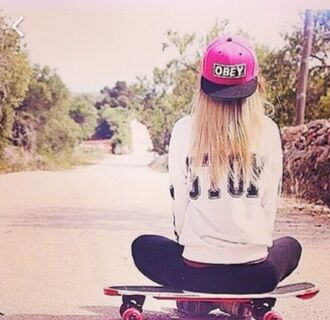 hat cap caps beanie obey pink black white skateboard skater girl swag yo streetstyle skater style girl fashion brand sweater vans warped tour pink cap