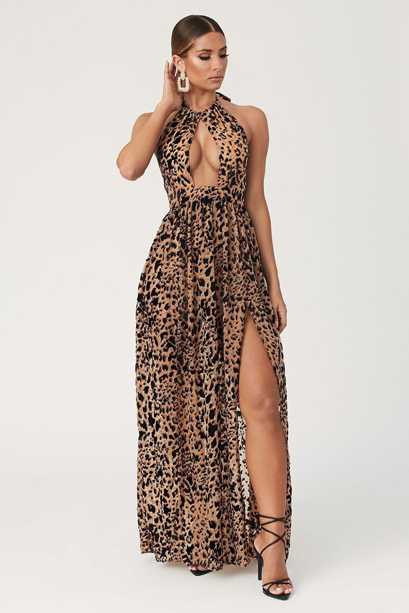 Kendra Halter Maxi Dress - Leopard