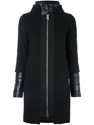 coat women layered cotton black wool