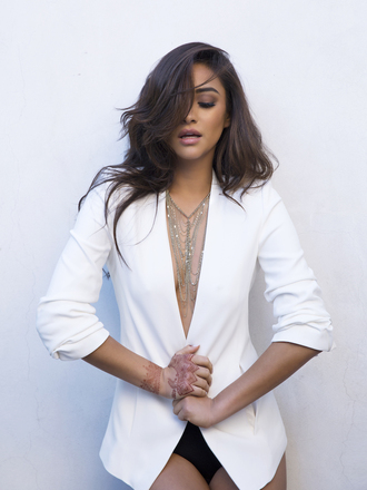 necklace shay mitchell blazer white white jacket jewels jacket spring jacket bag