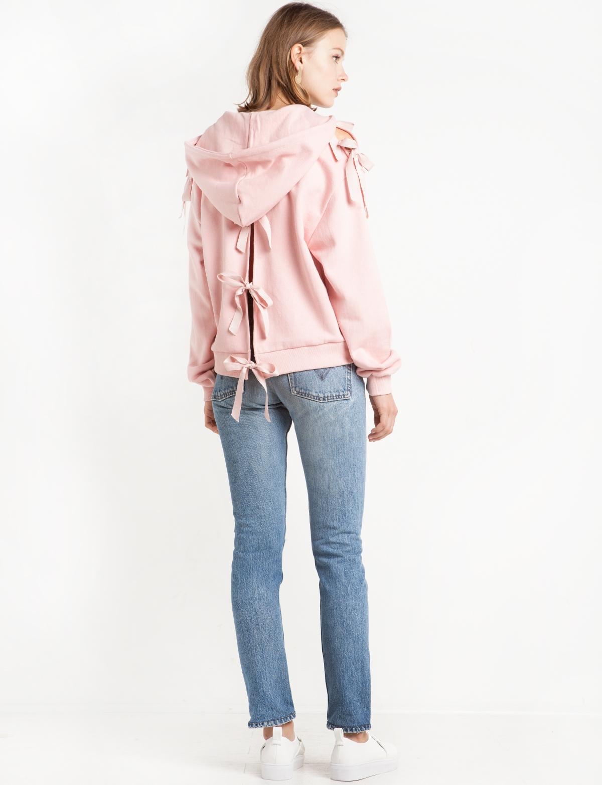 1f0dfca86e6517 Pink Ribbon Tie Back Sweatshirt