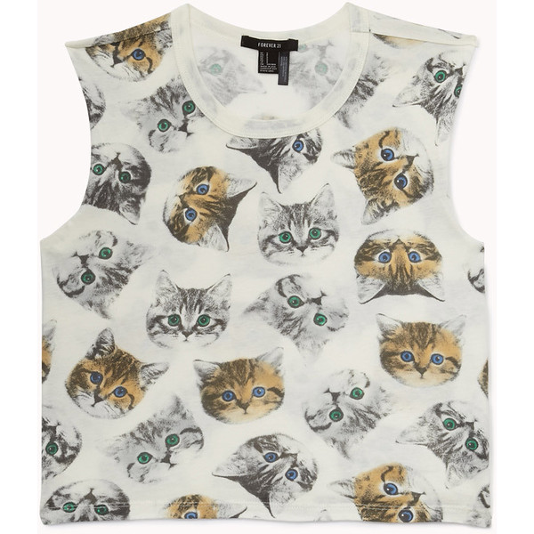 FOREVER 21 Cat Print Crop Top - Polyvore