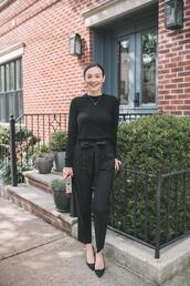 thecollegeprepster,blogger,sweater,pants,bag,shoes,jewels,fall outfits,black sweater,black pants,pumps,clutch