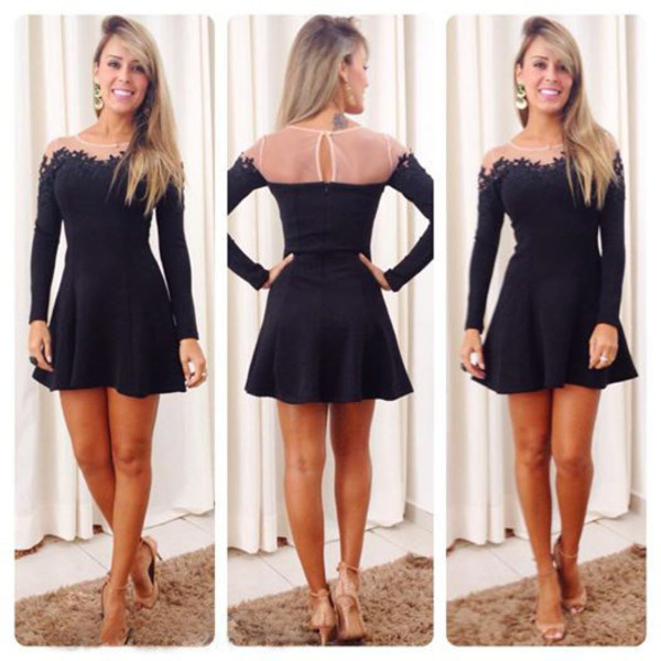 mini dress sexy dress long sleeve dress off the shoulder dress cute dress high quality lace dress open back prom dress black dress lace backless mini dress mean girls mesh dress black dress short dress