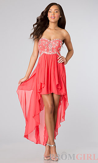 High Low Strapless Party Dress, Strapless Beaded Dress- PromGirl