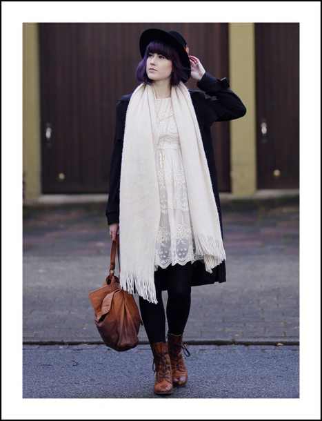 like a riot blogger coat hat lace dress blanket scarf combat boots leather bag