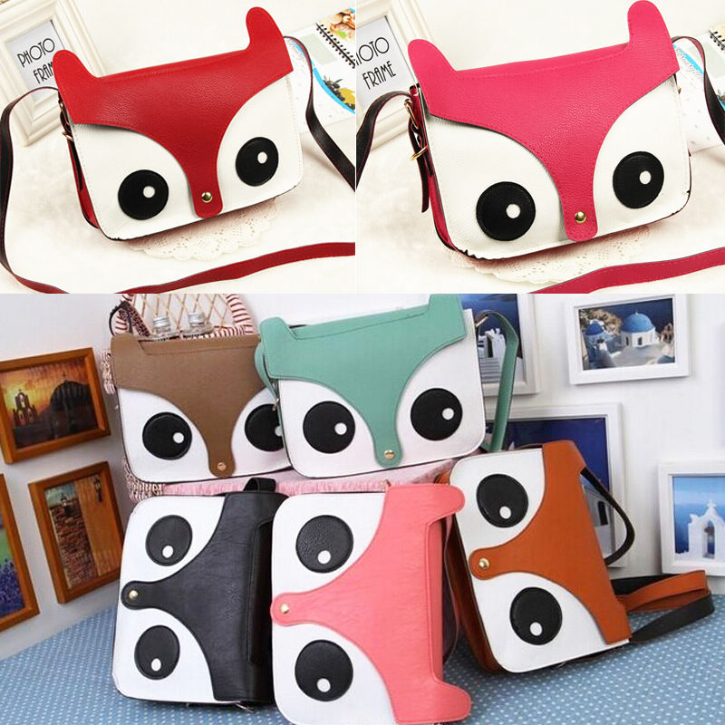 New Girls Lovely Cartoon Fox Owl Shoulder Bag Cross body Purse PU leather