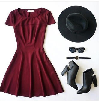 dress burgundy burgundy dress skater dress cute dress summer dress party dress short dress cute cute outfits outfit outfit idea summer outfits spring outfits party outfits date outfit watch hat sunglasses summer accessories boots booties shoes black boots black shoes accessories cut out shoes black watch look black hat black sunglasses