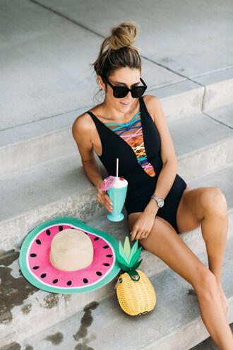 hello fashion blogger swimwear hat bag