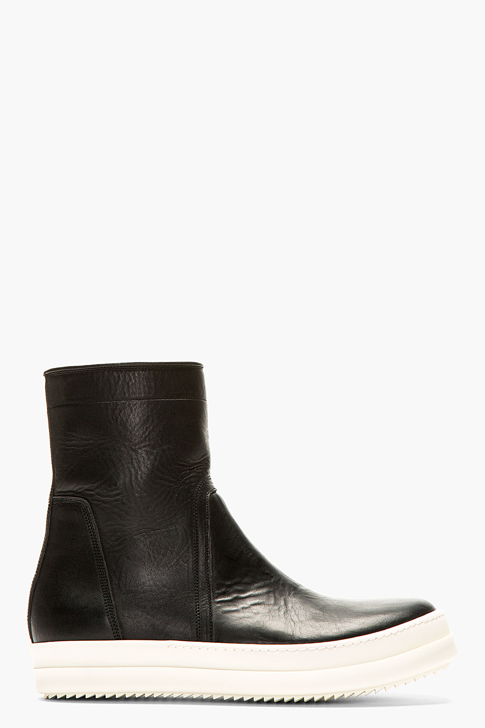 rick owens black and white leather minimalist boots