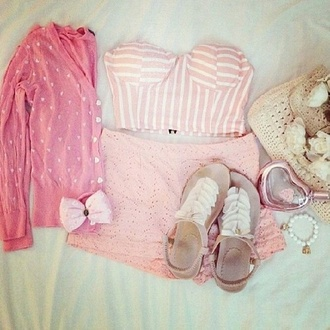 tank top pink corset lined cropped pretty girly shoes ruffle cute tan pink bustier stripes sandles white cardigan bows tumblr blouse
