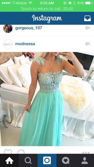 dress prom dress mint dress fashion style long prom dress