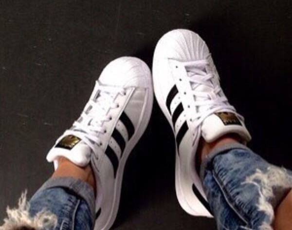 adidas black & white superstar foundation trainers