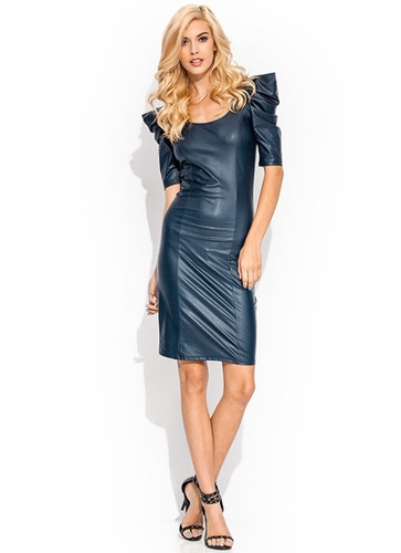 GJ | Ruffle Up Coated Dress $26.00 in BLACK BRICK NAVY - Faux Leather | GoJane.com